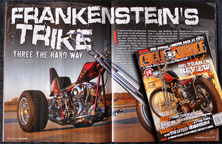 Custom trike using frankenstien trikes conversion kit 77 shovel trike