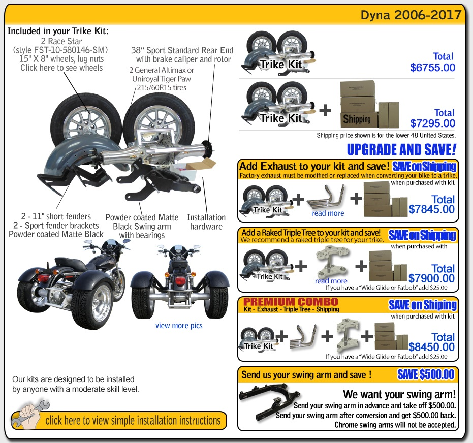 Dyan trike kit from frankenstein trikes contens and pricing