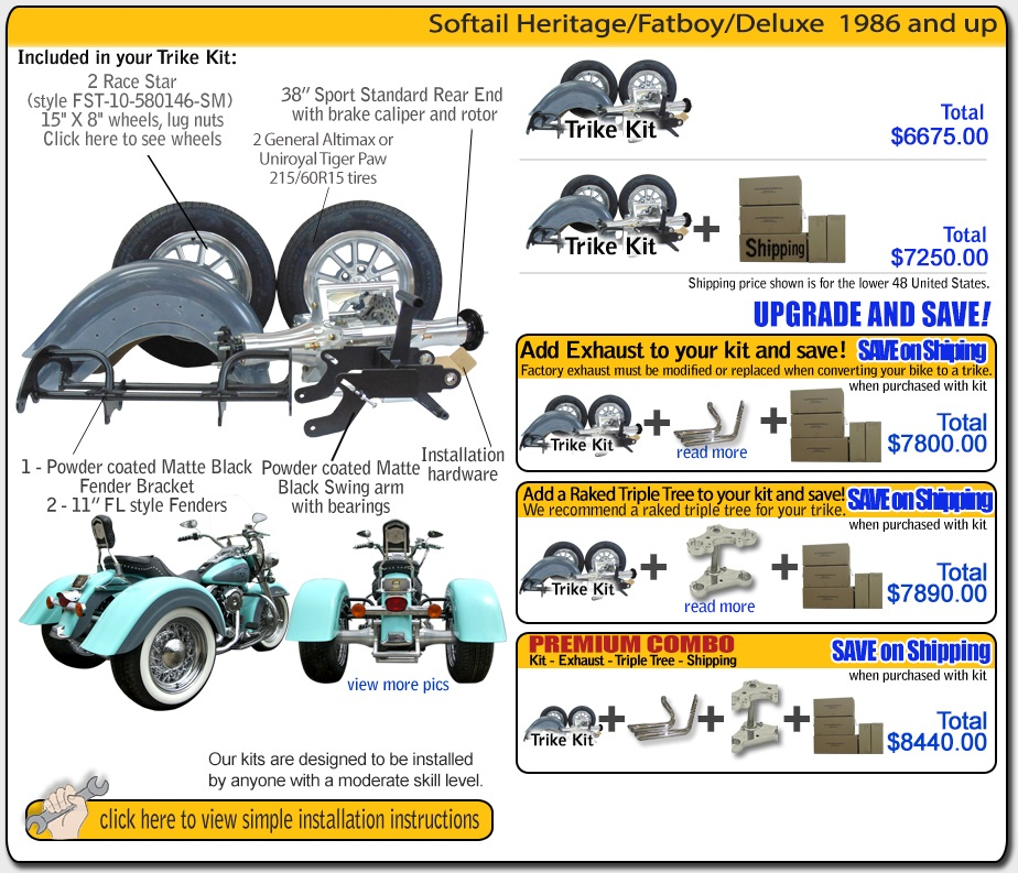 trike kit for softail heritage frankenstein trikes trike kit pricing and contents harley davidson trike kit