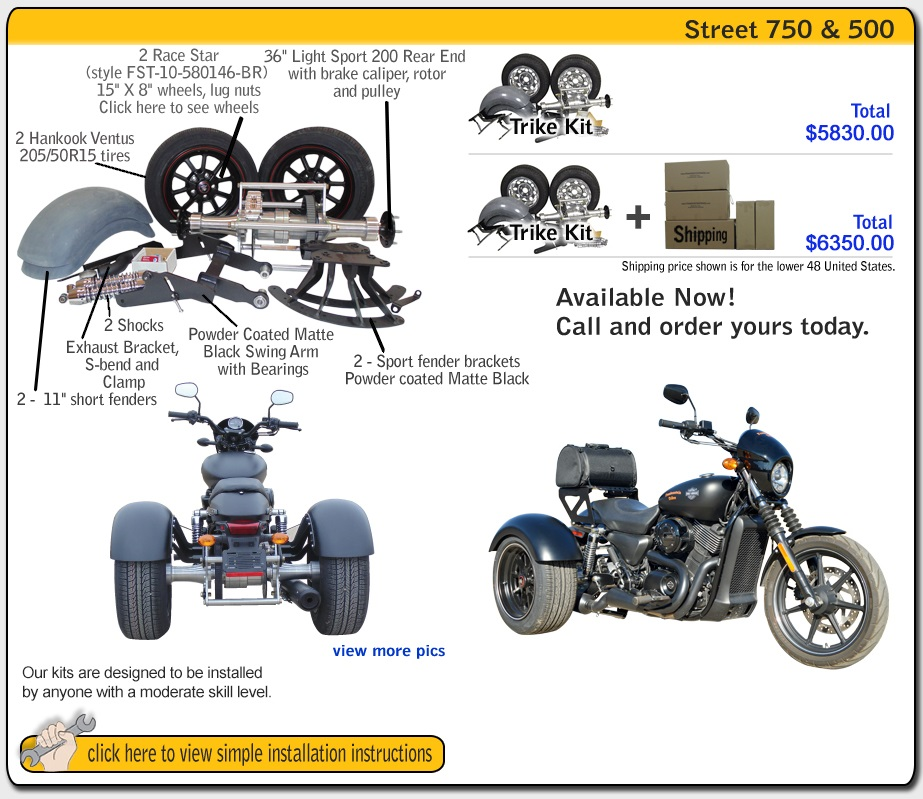 Trike kit for Harley Davidson Softail Frankenstein Trike Kit