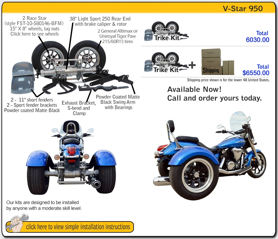 Frankenstein Trike kit for Yamaha Bolt