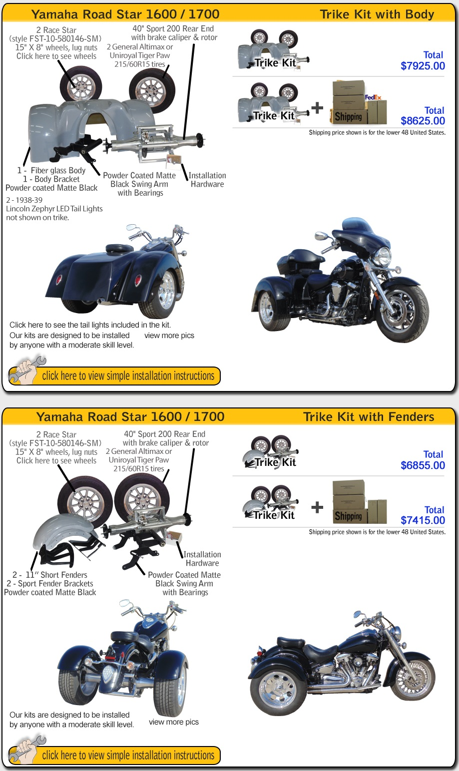 Frankenstin Trike kit for Yamaha Road Star