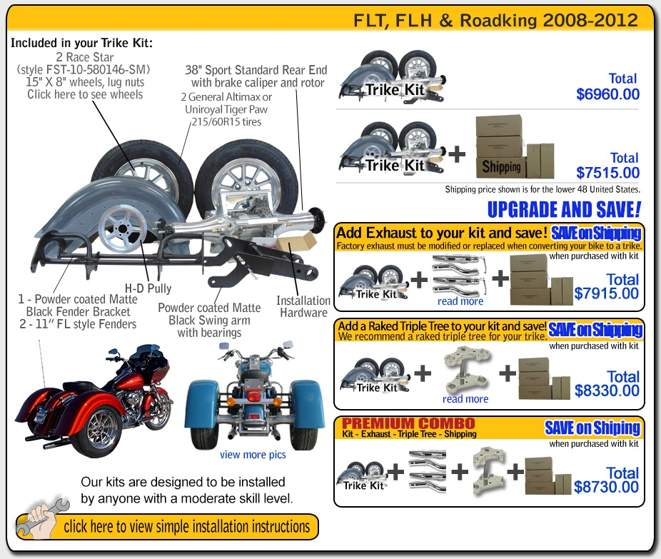 roadking 2009- up trike kit contents and pricing frankenstein trikes