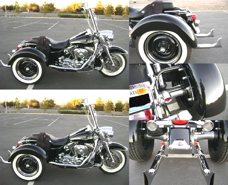 Harley-davidson Roadking Trike with Frankenstein Trike Kit using custom options pic